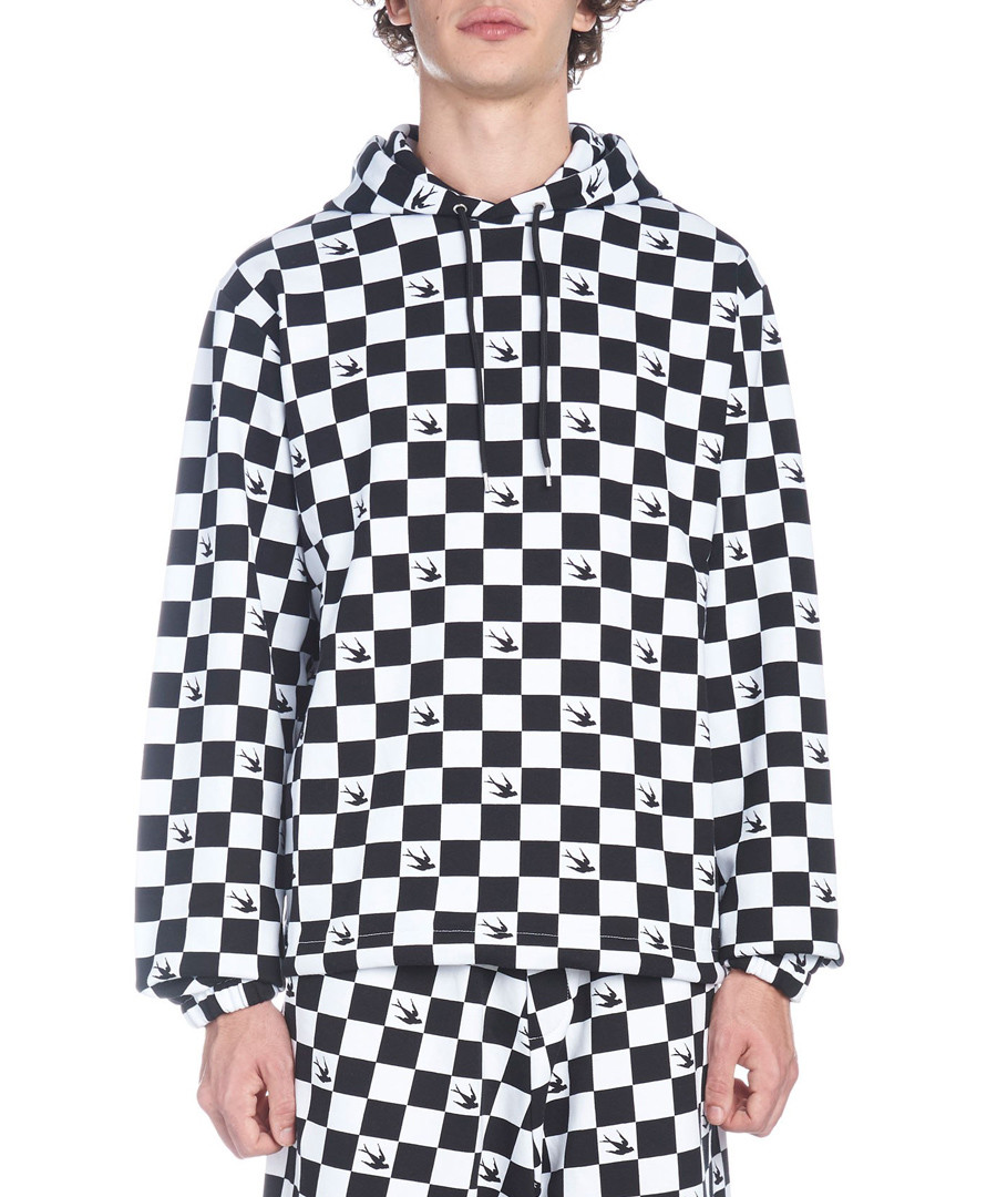 Monochrome checker print hoodie Sale - mcq alexander mcqueen