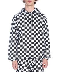 Monochrome checker print hoodie