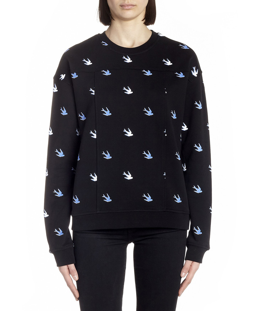 Black cotton blend swallow sweatshirt Sale - mcq alexander mcqueen