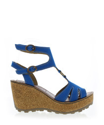 Electric blue leather wedges
