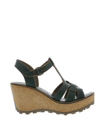 Green leather wedge sandals