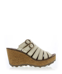 Off white leather wedge sandals