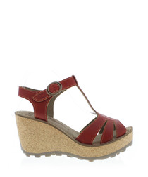 Devil red leather wedge sandals
