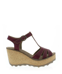 Magenta leather wedge sandals