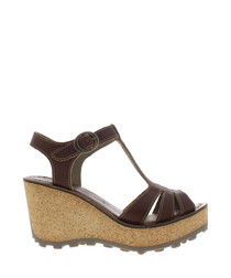 Tan leather wedge sandals