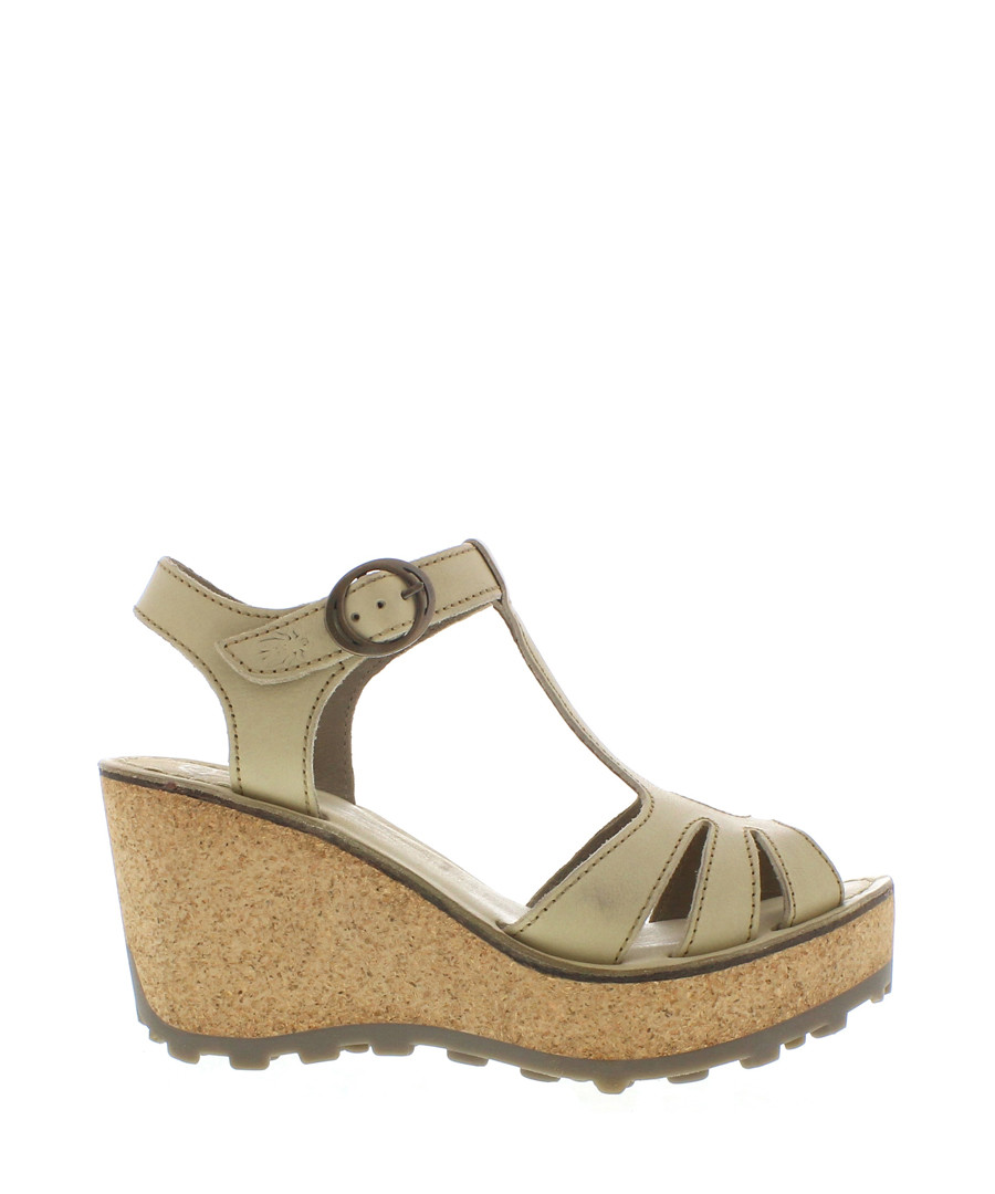 Cream leather wedge sandals Sale - fly london