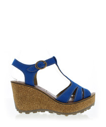 Electric blue leather wedge sandals