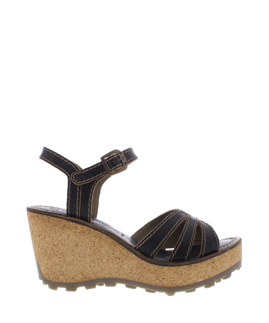 Black leather wedge sandals Sale - fly london