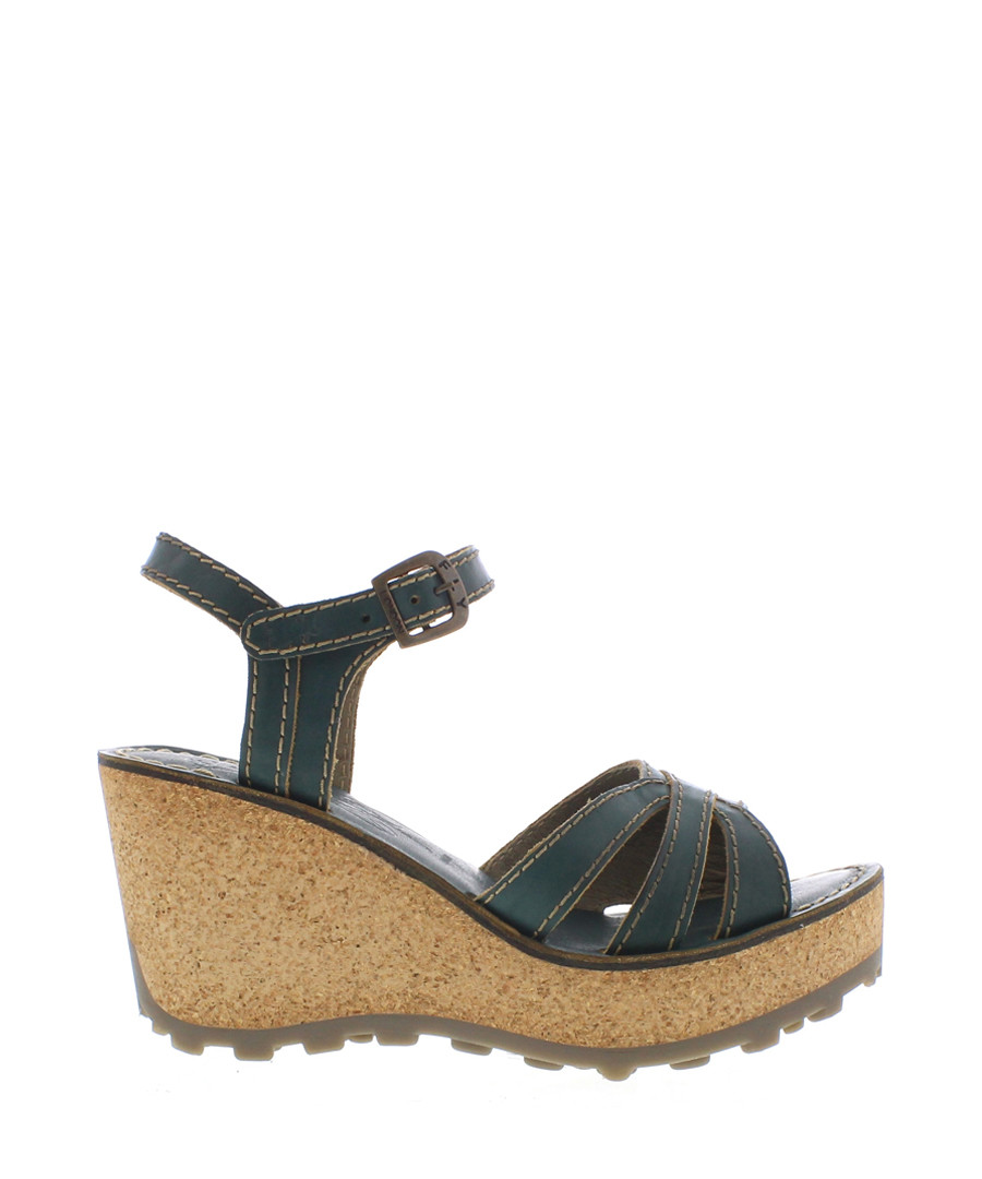 Nile green leather wedge sandals Sale - fly london