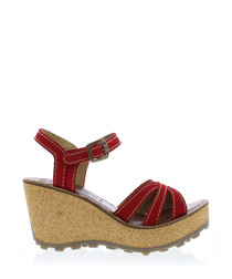 Lipstick red leather wedge sandals