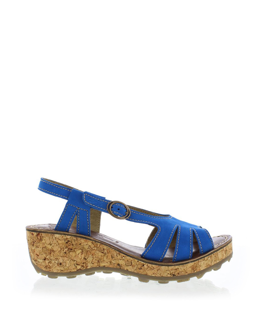 Electric blue leather wedge sandals Sale - fly london