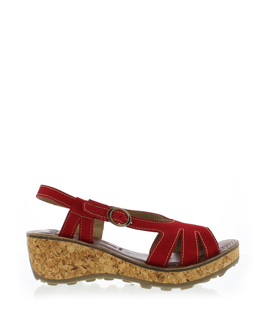 Lipstick red leather wedge sandals Sale - fly london