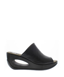 Black leather mule wedges