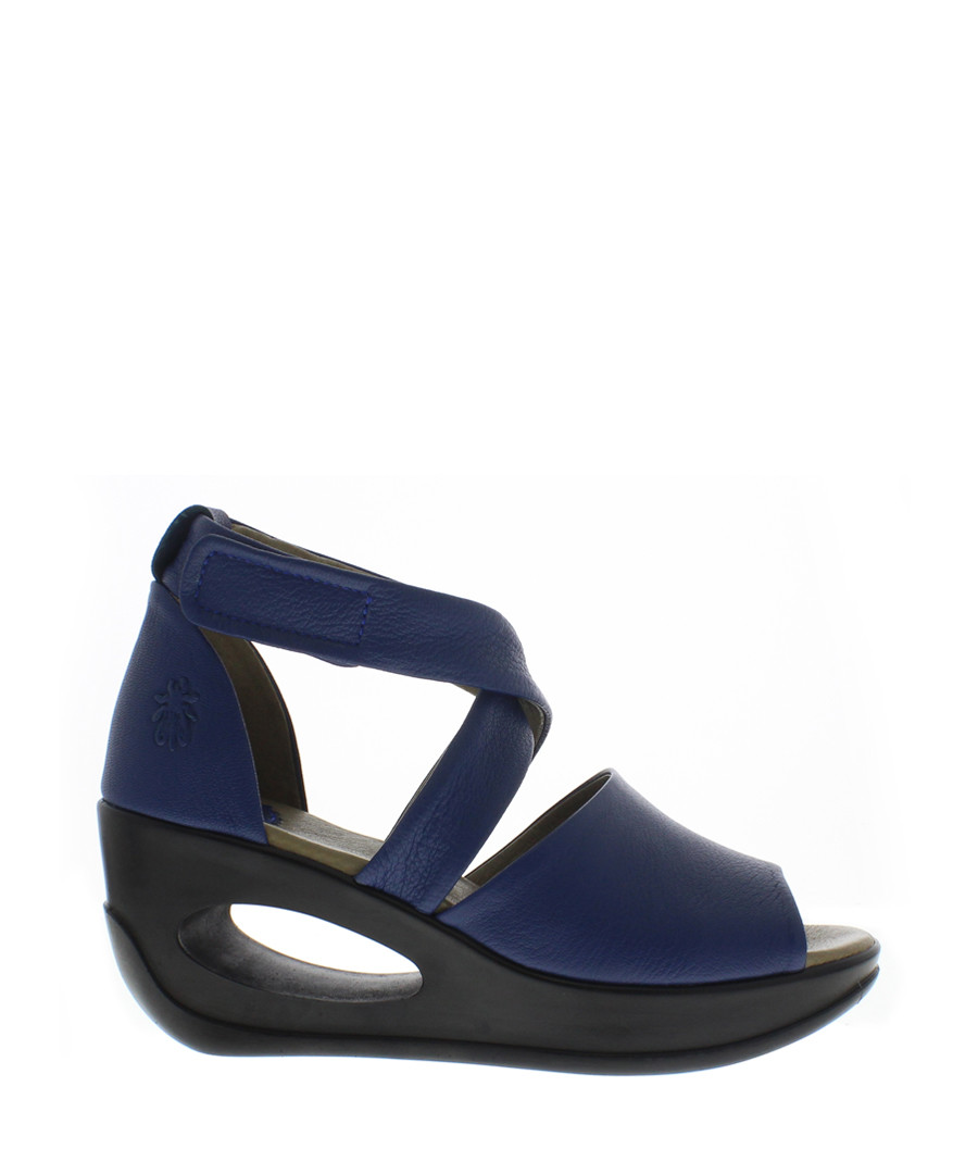 Blue leather cross-strap wedges Sale - fly london