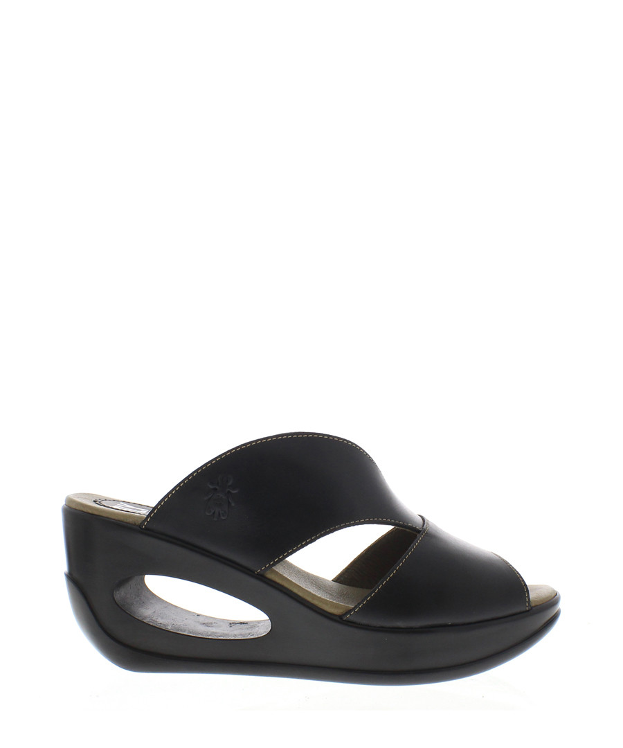 Black leather mule wedges Sale - fly london