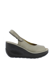 Lead leather mule wedges