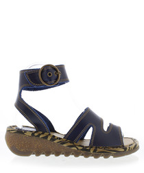 Blue leather strappy sandals