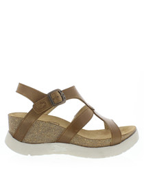 Camel leather strappy wedge sandals