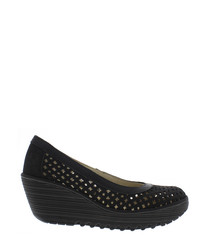 Black leather laser-cut wedges