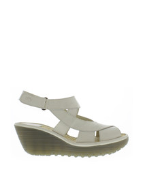 Off white leather strap wedges