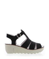 Black & off white leather wedges