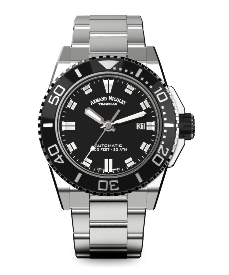 Automatic Diver silver-tone steel watch Sale - Armand Nicolet