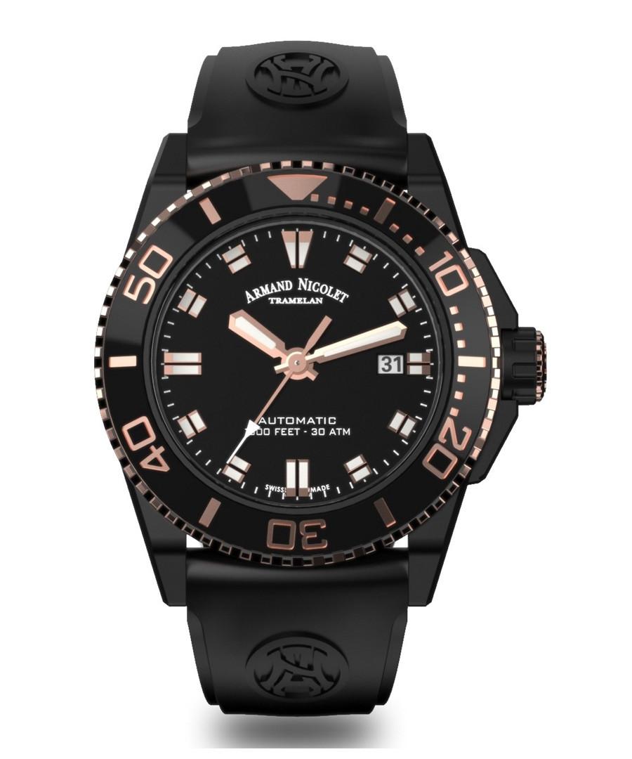 Black steel automatic diver watch Sale - Armand Nicolet
