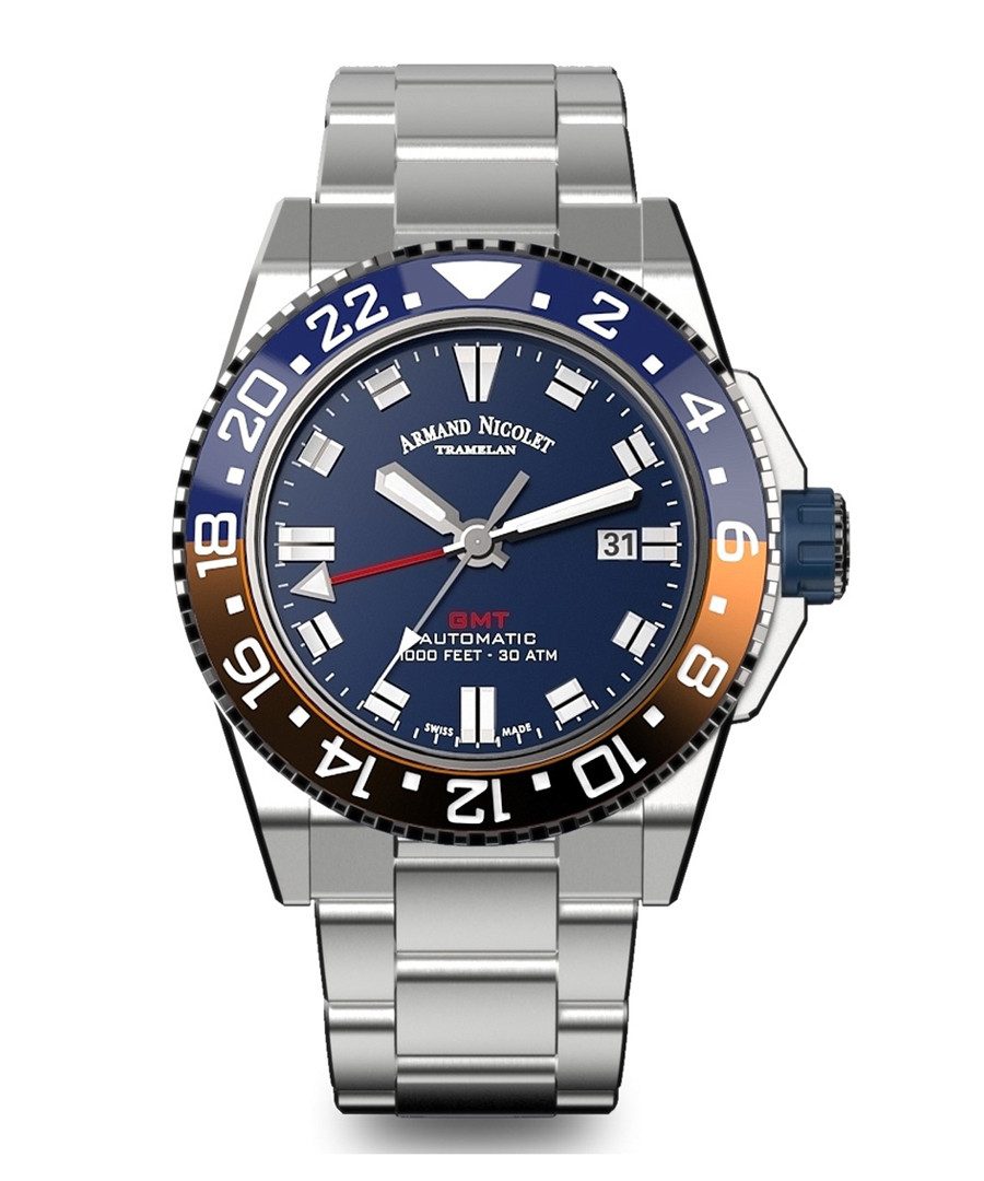 GMT Silver-tone stainless steel watch Sale - Armand Nicolet