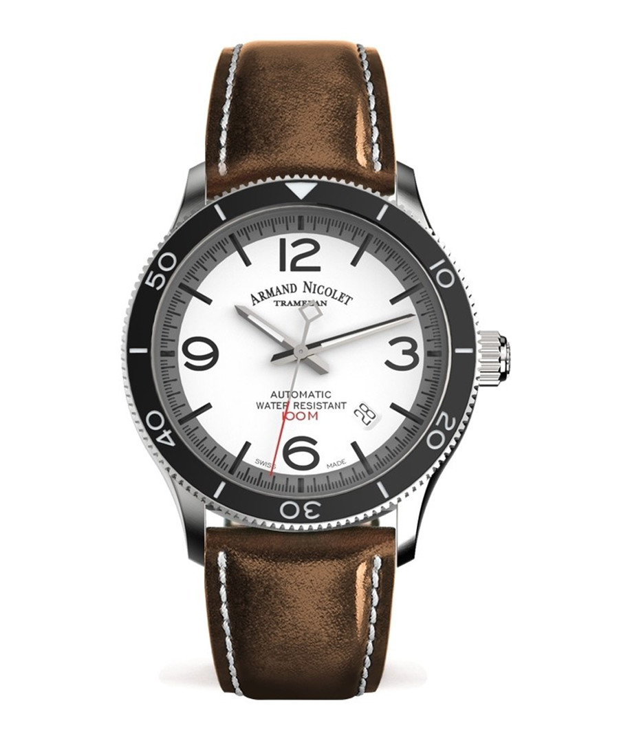 Brown leather strap watch Sale - Armand Nicolet