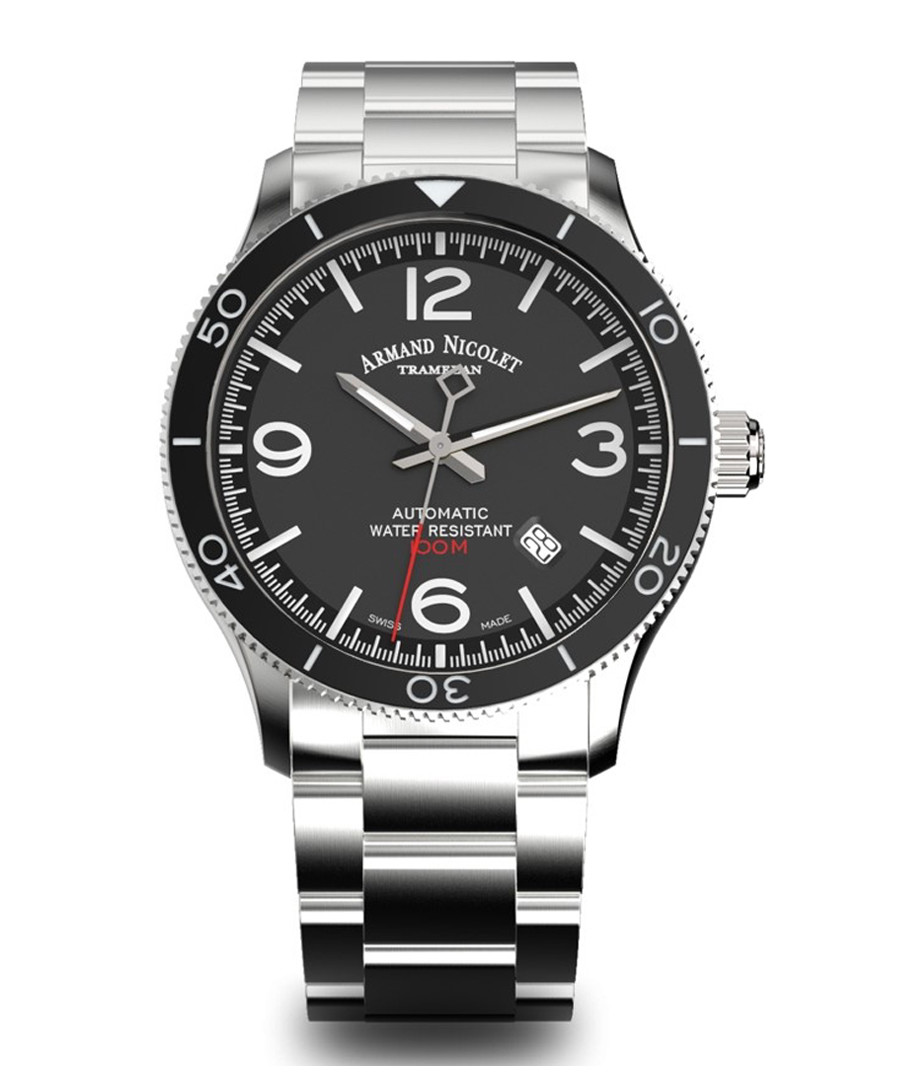 Silver-tone & black steel watch Sale - Armand Nicolet