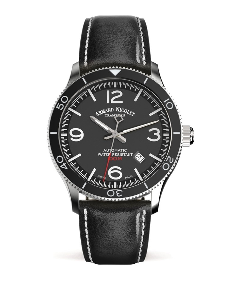 Black leather strap watch Sale - Armand Nicolet