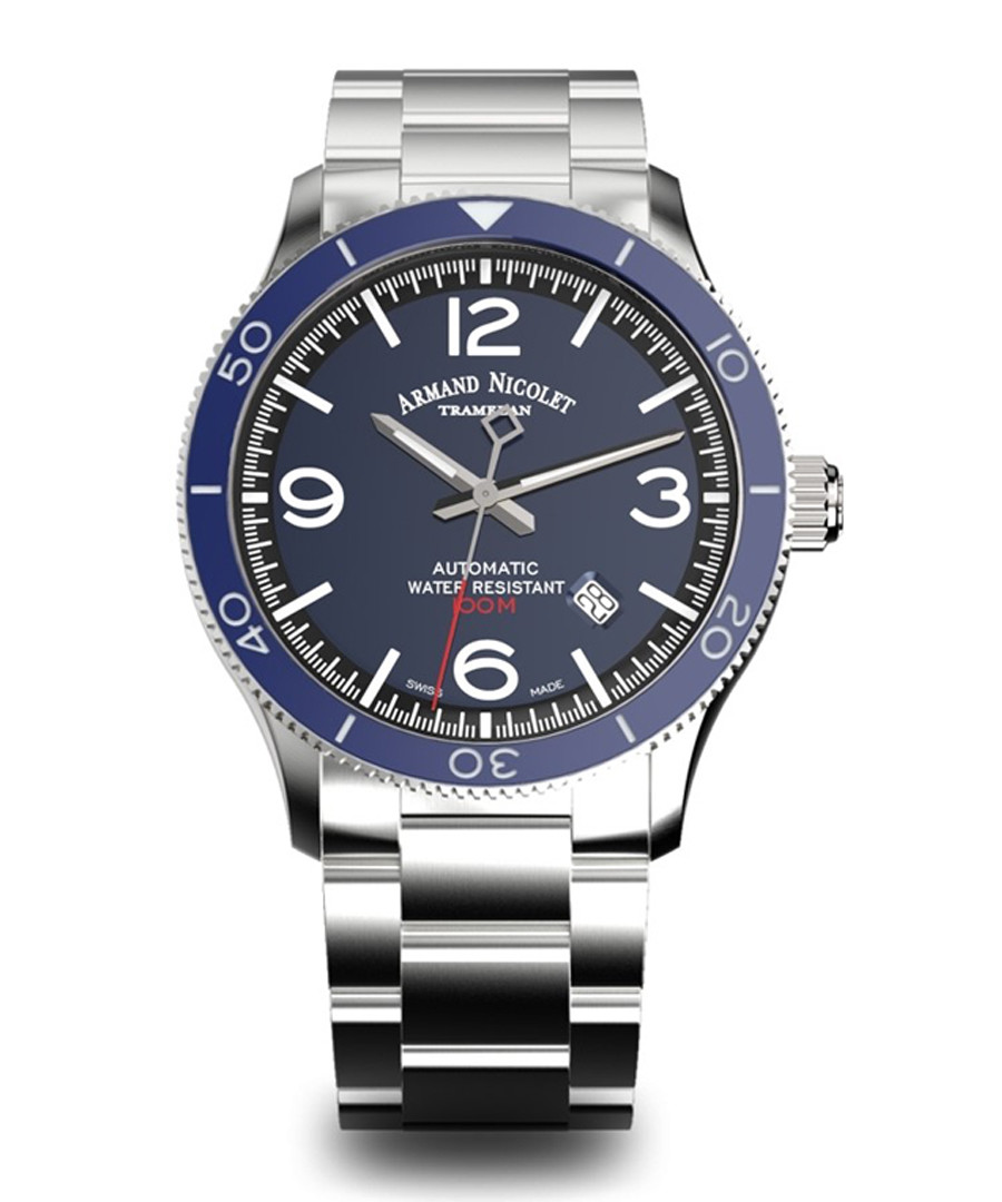 Silver-tone & blue steel watch Sale - Armand Nicolet