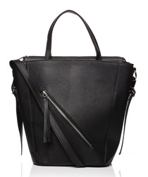 Black large trapeze shaped tote