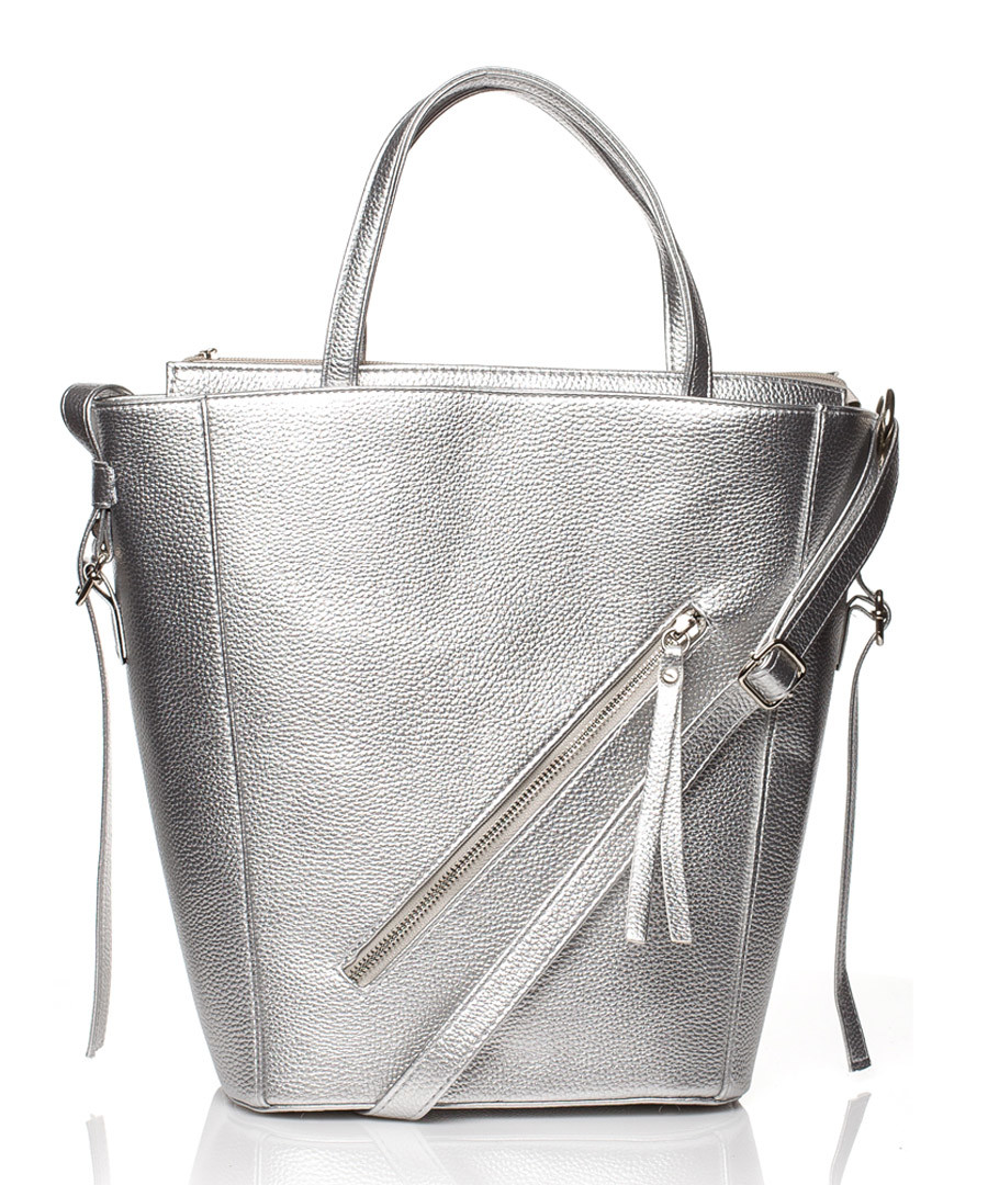 Silver-tone large trapeze shaped tote Sale - stylove bags