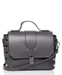 Graphite studded shoulder bag