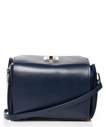 Blue box-shaped clutch