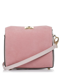Powder pink box-shaped clutch