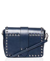 Blue studded shoulder bag