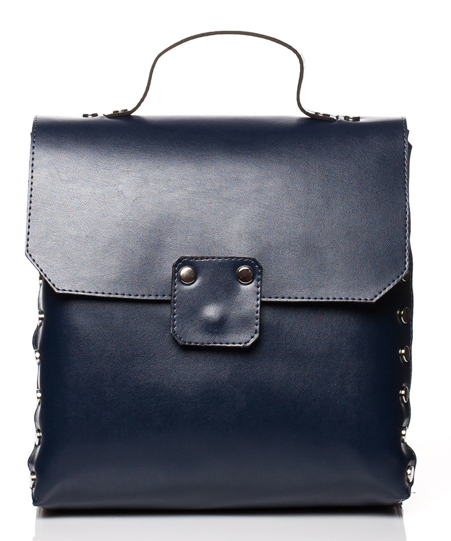 Blue studded box backpack Sale - stylove bags