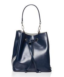 Blue drawstring bucket bag