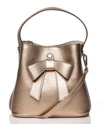 Copper bow bucket bag