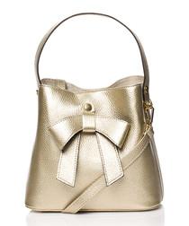 Gold-tone bow bucket bag