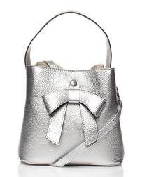 Silver-tone bow bucket bag