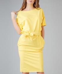 Yellow cotton blend tie-waist dress