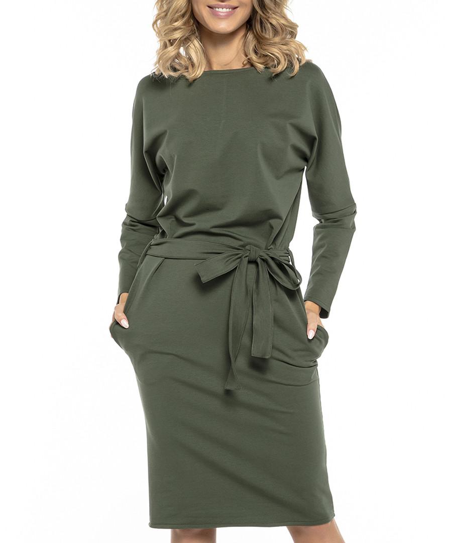 Green cotton blend tie-waist dress Sale - tessita