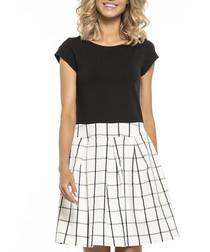 Black check contrast dress
