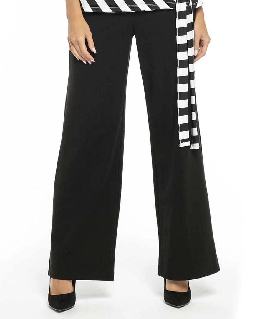 Black cotton blend casual trousers Sale - tessita