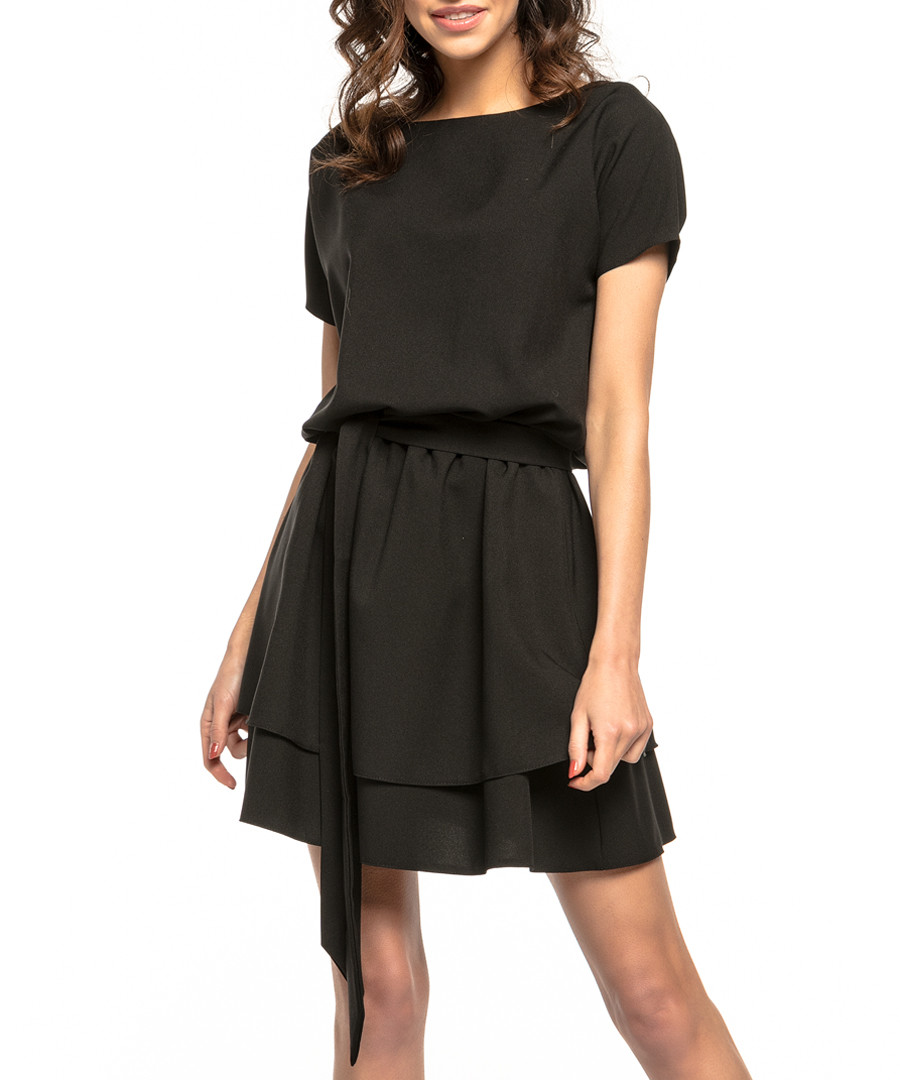 Black tiered casual mini dress Sale - tessita