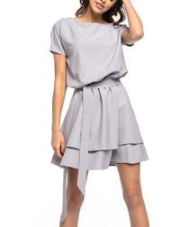 Grey tiered casual mini dress