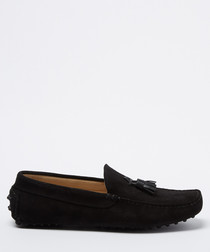 Velazques black suede tassel loafers